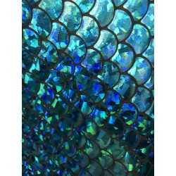 Turquoise 4-Way Stretch Mermaid Scales on Nylon Spandex
