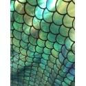 Green Hologram 4-Way Stretch Mermaid Scales on Nylon Spandex