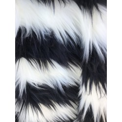 Black & White Stripe Shaggy Long Pile Faux Fur