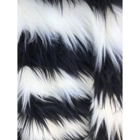 Black & White Stripe Shaggy Long Pile Faux Fur
