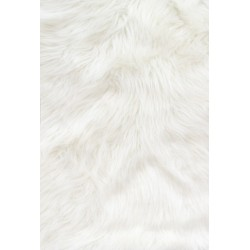 White Solid Shaggy Long Pile Faux Fur