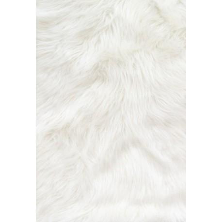 White Solid Shaggy Long Pile Faux Fur