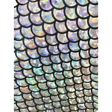 Silver 4-Way Stretch Mermaid Scales on Nylon Spandex
