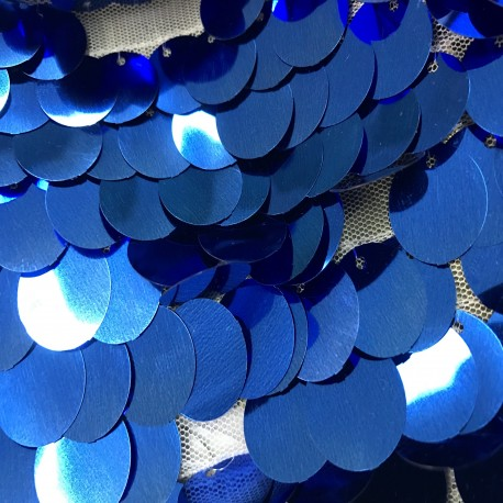 Metallic Royal Blue Large Payette Sequins On Mesh