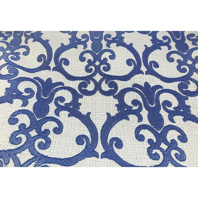 Royal Blue Ikat Design Heavy Duty Upholstery Fabric By The Yard