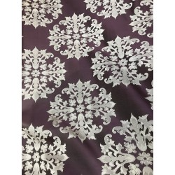 Purple Jacquard Damask Heavy-Duty Upholstery