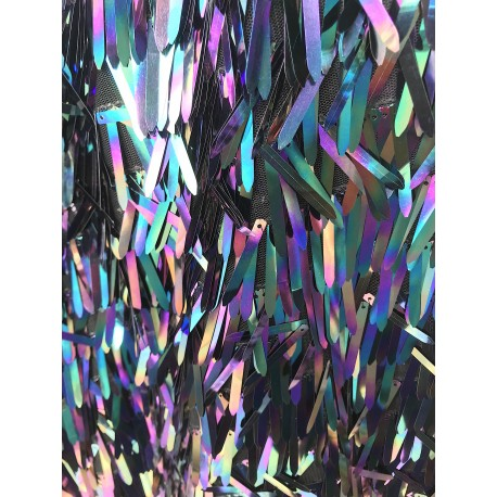 Iridescent Black Icicle Shaped Paillette Sequin On Mesh