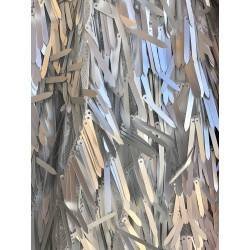 Matte Silver Icicle Shaped Paillette Sequin On Mesh