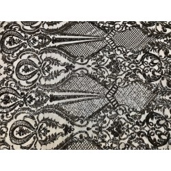 Four-Way Stretch Black Sequin Lace On Power Mesh