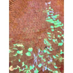 Iridescent Peach Large Paillette Sequins On Mesh