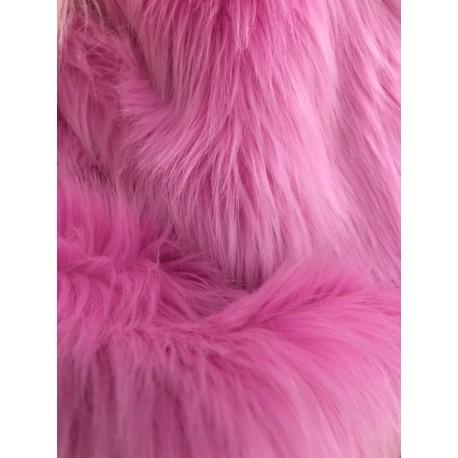 Bubblegum Pink Shaggy Long Pile Faux Fur