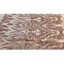 Four-Way Stretch Rose Gold Sequin Lace On Power Mesh