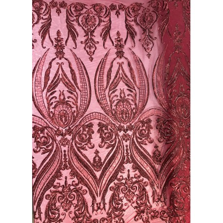 Four-Way Stretch Burgundy Sequin Lace On Power Mesh