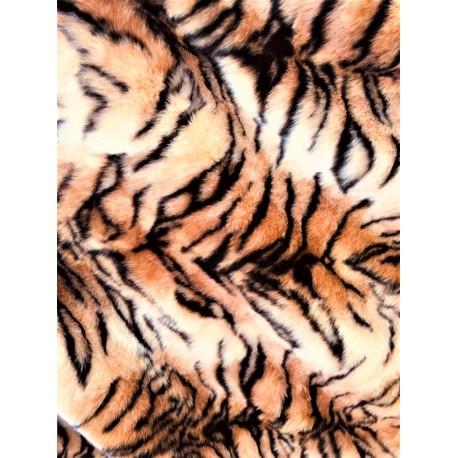 Brown Tiger Skin Short Pile Faux Fur