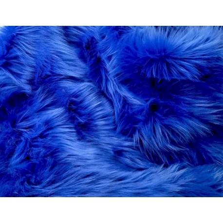 Royal Blue Solid Shaggy Long Pile Faux Fur