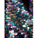 Iridescent Petrol Black Large Paillette Sequins On Mesh