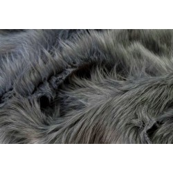 Dark Gray Shaggy Long Pile Faux Fur