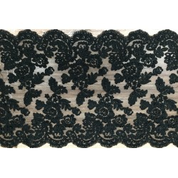 Black Beaded and Corded Lace Trim