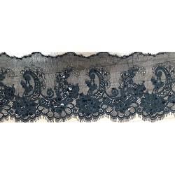 Black Lace Trim with Sequins