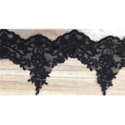 Black Embroidered and Corded Lace Trim