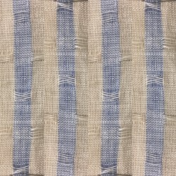 Lithuanian Three Tone Blue Beige Stripe Jacquard Linen