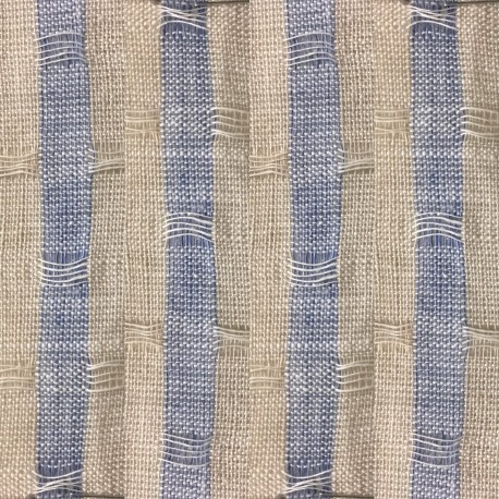 Lithuanian Three Tone Blue Beige Stripe Jacquard Linen