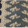 Tan Embroidered Lace with Gold Beads