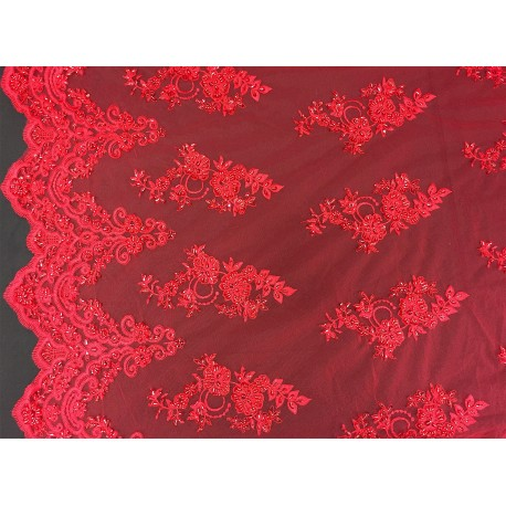 Red Embroidered and Beaded Lace
