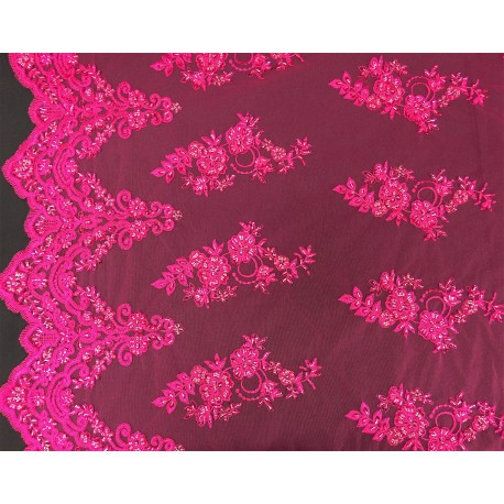 Fuchsia Embroidered and Beaded Lace