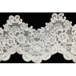 Ivory Beaded and Corded Lace Trim
