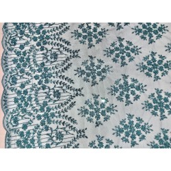 Teal Embroidered and Beaded Lace
