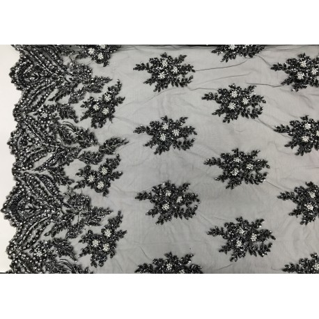 Embroidered Lace With Black & White Beads