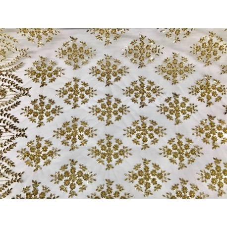 Gold Embroidered & Beaded Lace