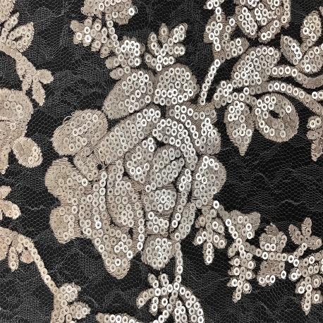 Matte Taupe Floral Sequins Lace Fabric