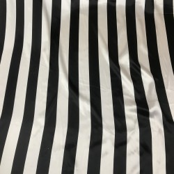 Black & White Stripe Print on Charmeuse