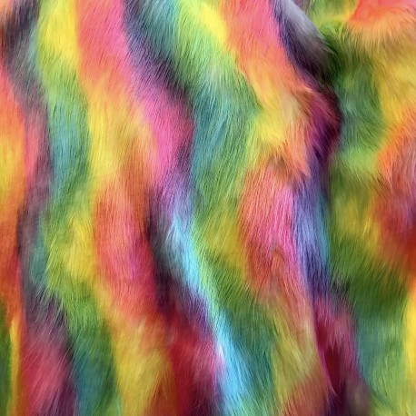 Bright Multi Color Shaggy Long Pile Faux Fur