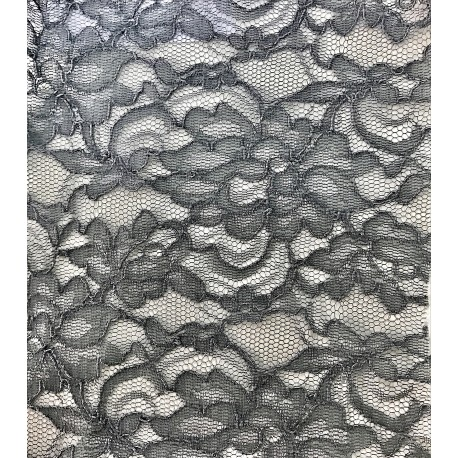 Gray Floral Non Stretch Lace