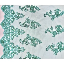 Teal Double Border Embroidered and Beaded Lace