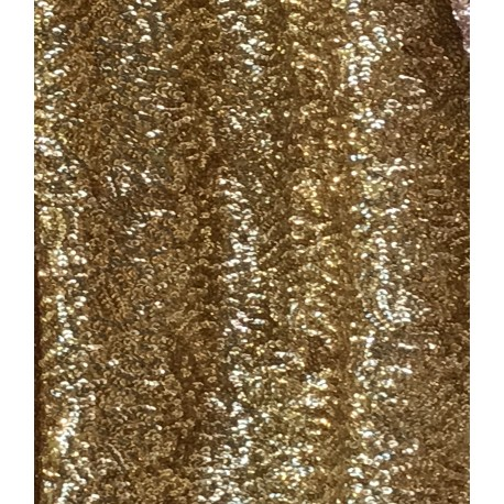Gold Designed Sequin On Stretch Mesh