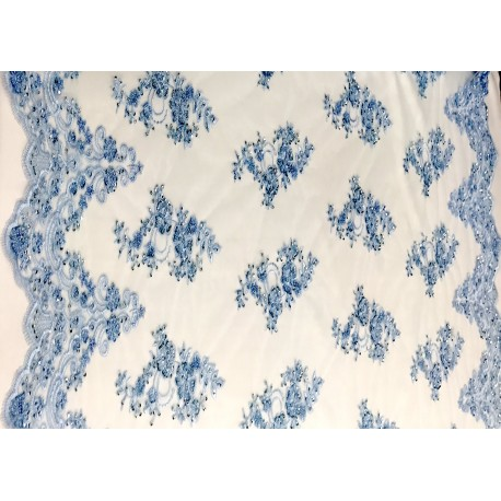 Baby Blue Beaded Lace