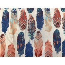 White Organic Rayon Challis Feather Print
