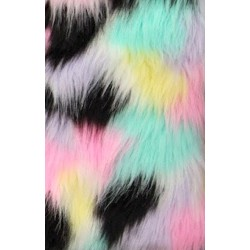 Pastel Multi Color Shaggy Long Pile Faux Fur