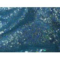 Iridescent Blue Mini Disk Sequins On Stretch Mesh