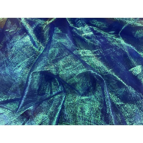 Dark Blue With Lime Shiny Iridescent Sheer Crinkle Organza